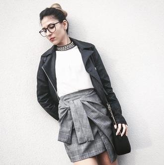 skirt gamiss wrap skirt grey grey skirt mini skirt mini biker jacket fashion fashionista fashion inspo blogger chic blogger   fashionista outfit outfit idea