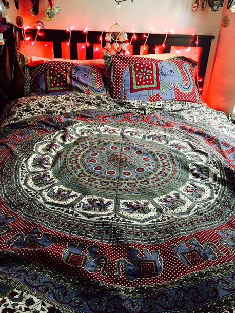 home accessory boho tribal pattern bedding trippy has elephants on it