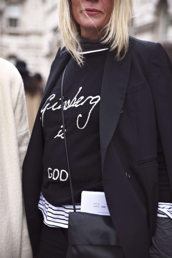 sweater black sweater bella freud black blazer blazer bag black bag jacket