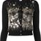Oscar de la renta sequin embroidered cardigan, women's, size: small, black, virgin wool