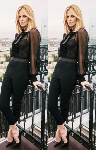 blouse charlize theron pants pumps sheer shoes