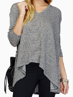 Black & white pinstripe v neck hoodie loose knit top