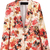 Red Notch Lapel Long Sleeve Floral Casual Blazer - Sheinside.com