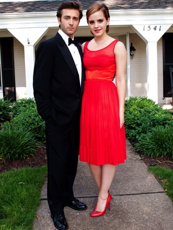 Dress: red dress, red, prom, long prom dress, emma watson, formal ...