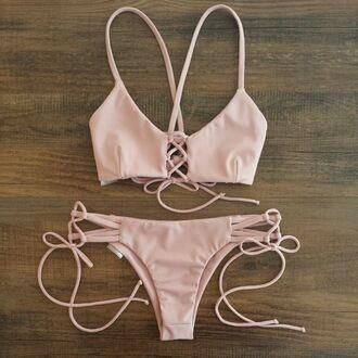 swimwear string bikini cross front cross back bikini itsy tie front pink bikini cute criss cross