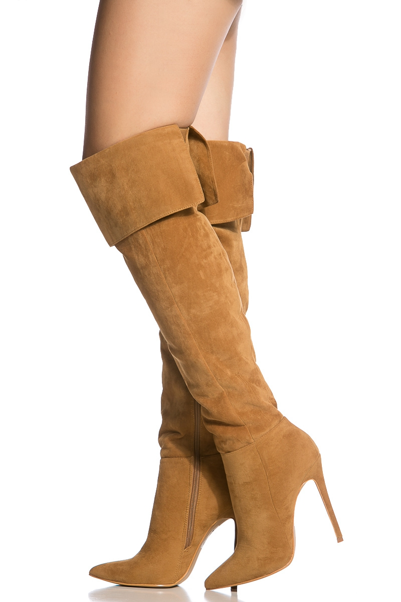 622e7831981 Chestnut Faux Suede Pointed Toe Thigh High Boots   Cicihot Boots Catalog women s  winter boots