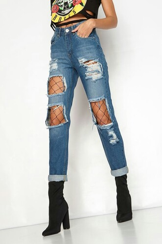 jeans ripped jeans distressed high waisted jeans denim fishnet tights ripped blue jeans tumblr cute grunge