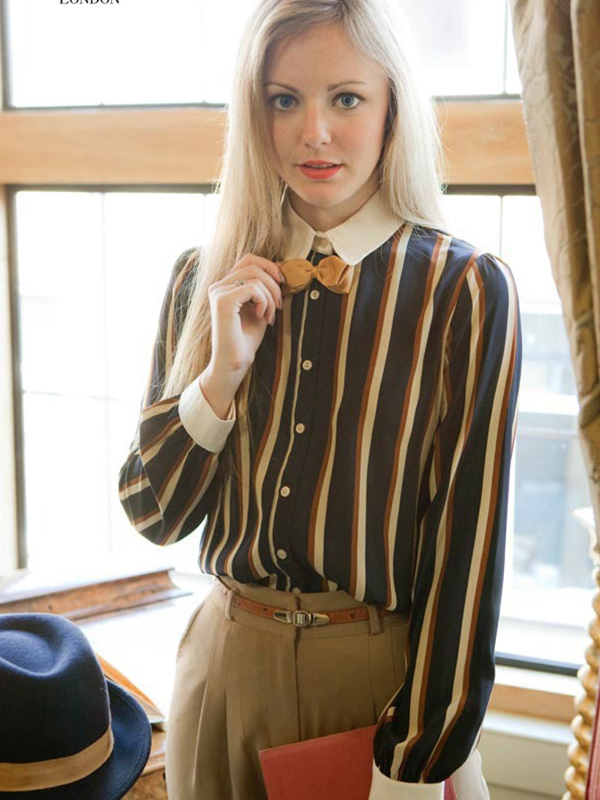 Column Chiffon Long Sleeve Prints Shirt  : KissChic.com
