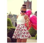 skirt,flowers,skater skirt,flower printed skater skirt,white top,sunglasses,hair bun,dress,floral,floral skirt,pink,white,tank top