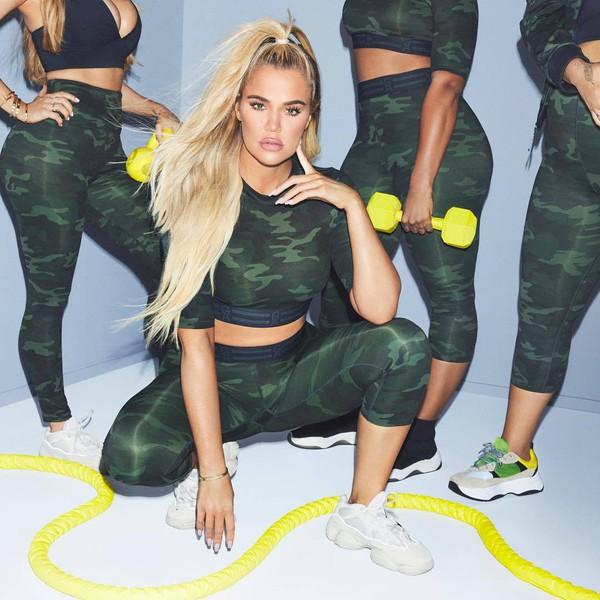 top camouflage crop tops leggings activewear sportswear khloe kardashian kardashians
