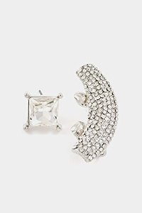 Amazon.com: trendy fashion jewelry square crystal post earring and rhinestone paved ear cuff by fashion destination