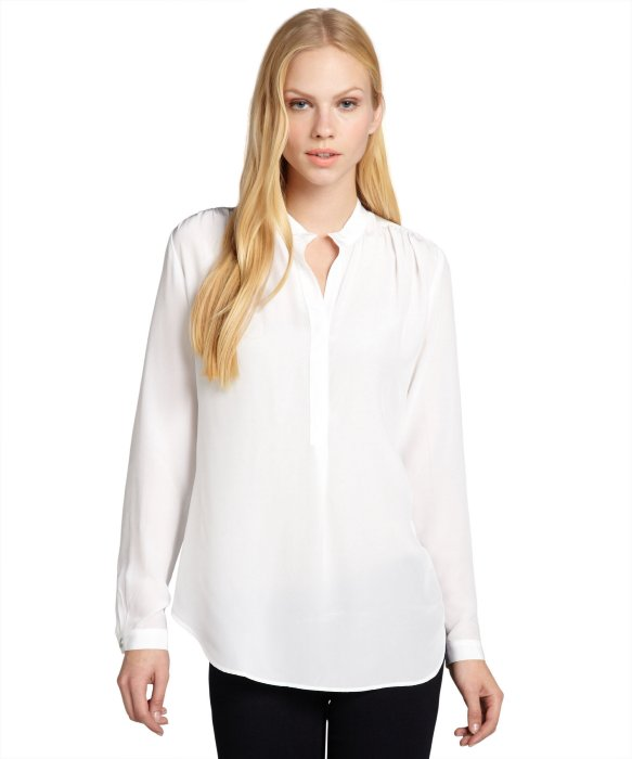 Fifteen-Twenty white shimmer silk deep v-neck blouse | BLUEFLY up to 70% off designer brands