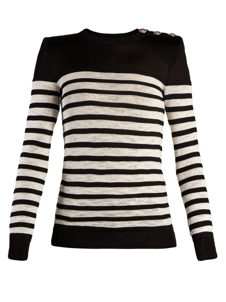 sweater striped sweater embellished white black
