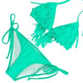 swimwear,bikini,fringe bikini,fringes,mint