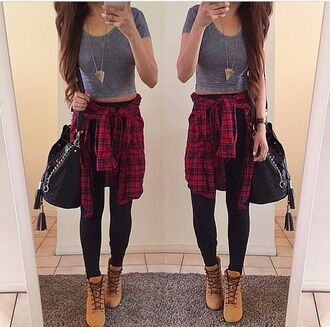 blouse t-shirt top shoes tan boots comat boots boots brown boots leggings necklace flannel shirt crop tops black pants bag high school