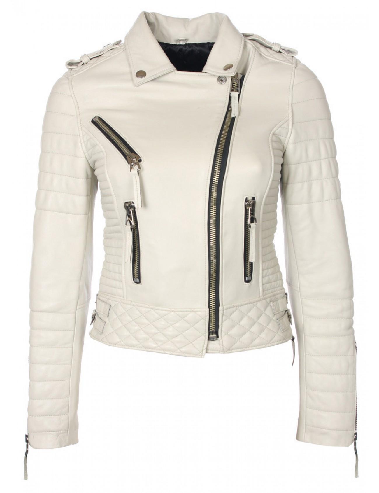 Kay Michaels Quilted Biker Jacket - Platinum Grey - Boda Skins