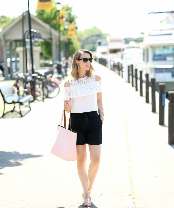 pennypincherfashion blogger top shorts shoes bag jewels