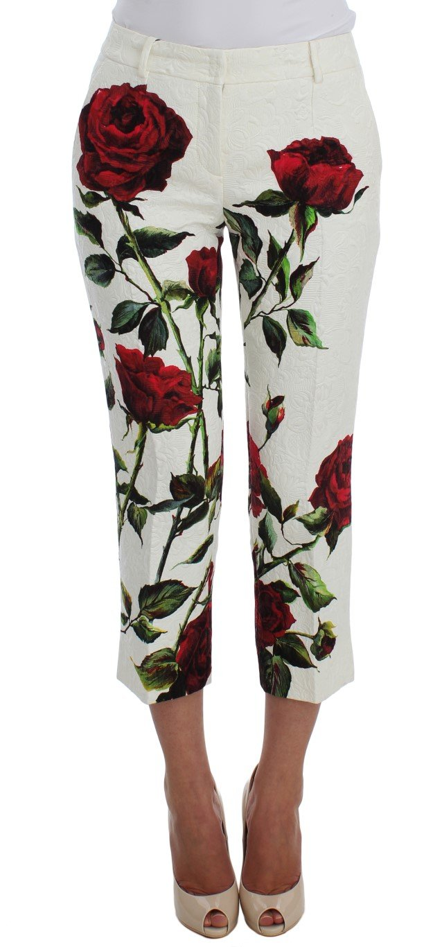 White Brocade Roses Print Capris Pants