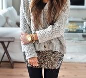 sweater,sparkle,gold,skirt,jumper,cardigan,leggings,black,grey,knitwear