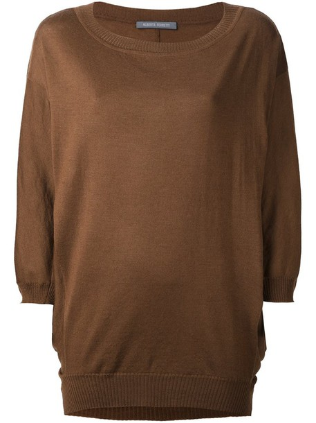 jumper loose knit women fit wool brown sweater