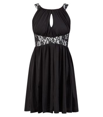 Belle Heart Black Lace Waist Peekaboo Front Skater Dress