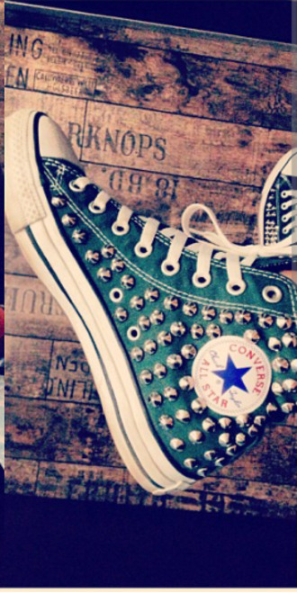 shoes chuck taylor all stars converse rivets studs sneakers high top sneakers