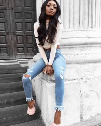 jeans tumblr denim ripped jeans frayed denim frayed jeans shoes furry shoes mules white top