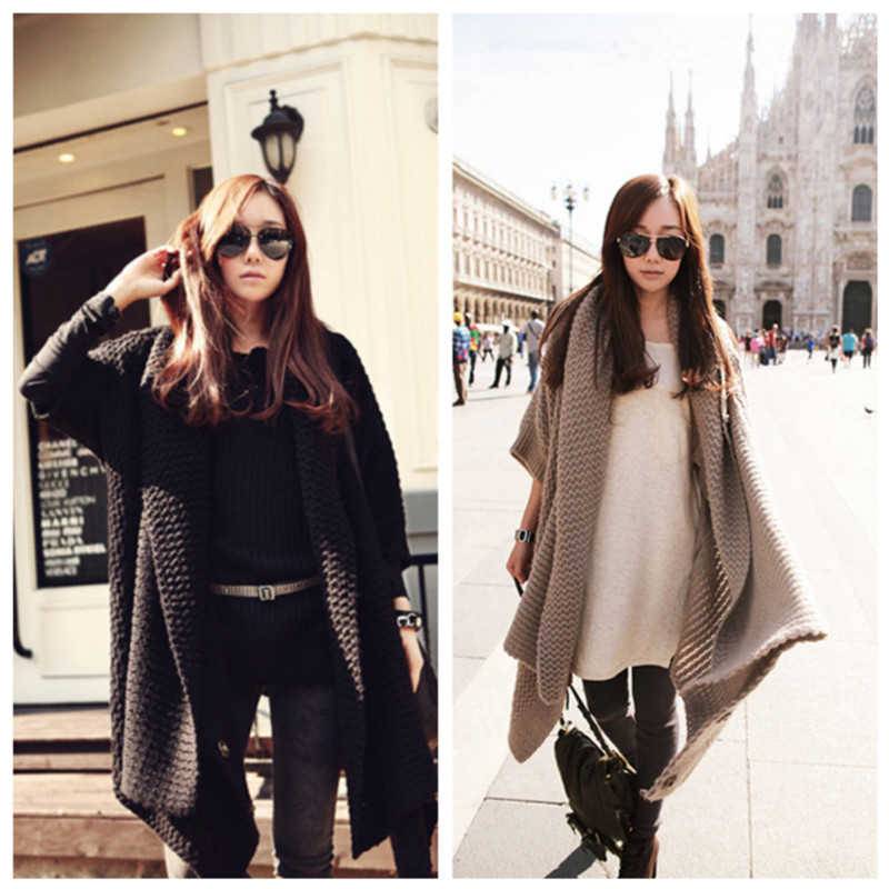 Korean Fashion Women Cardigan Batwing Sleeve Long Loose Knitwear Coat Sweater
