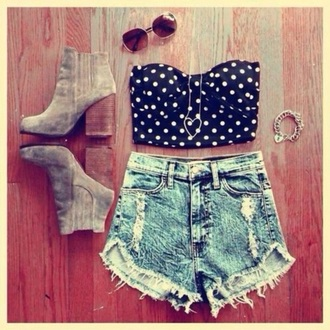 top crop tops shorts polka dots