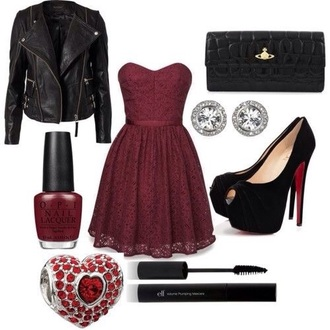 dress jewels shoes burgundy dress black leather jacket biker jacket louboutin vivienne westwood swarovski mascara nails elegant outfit polyvore jacket black red heels ring jewelry wallet leather jacket black jacket red dress