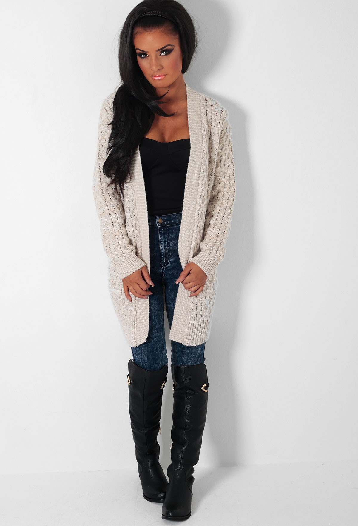Cream Chunky Knitted Cardigan | Pink Boutique