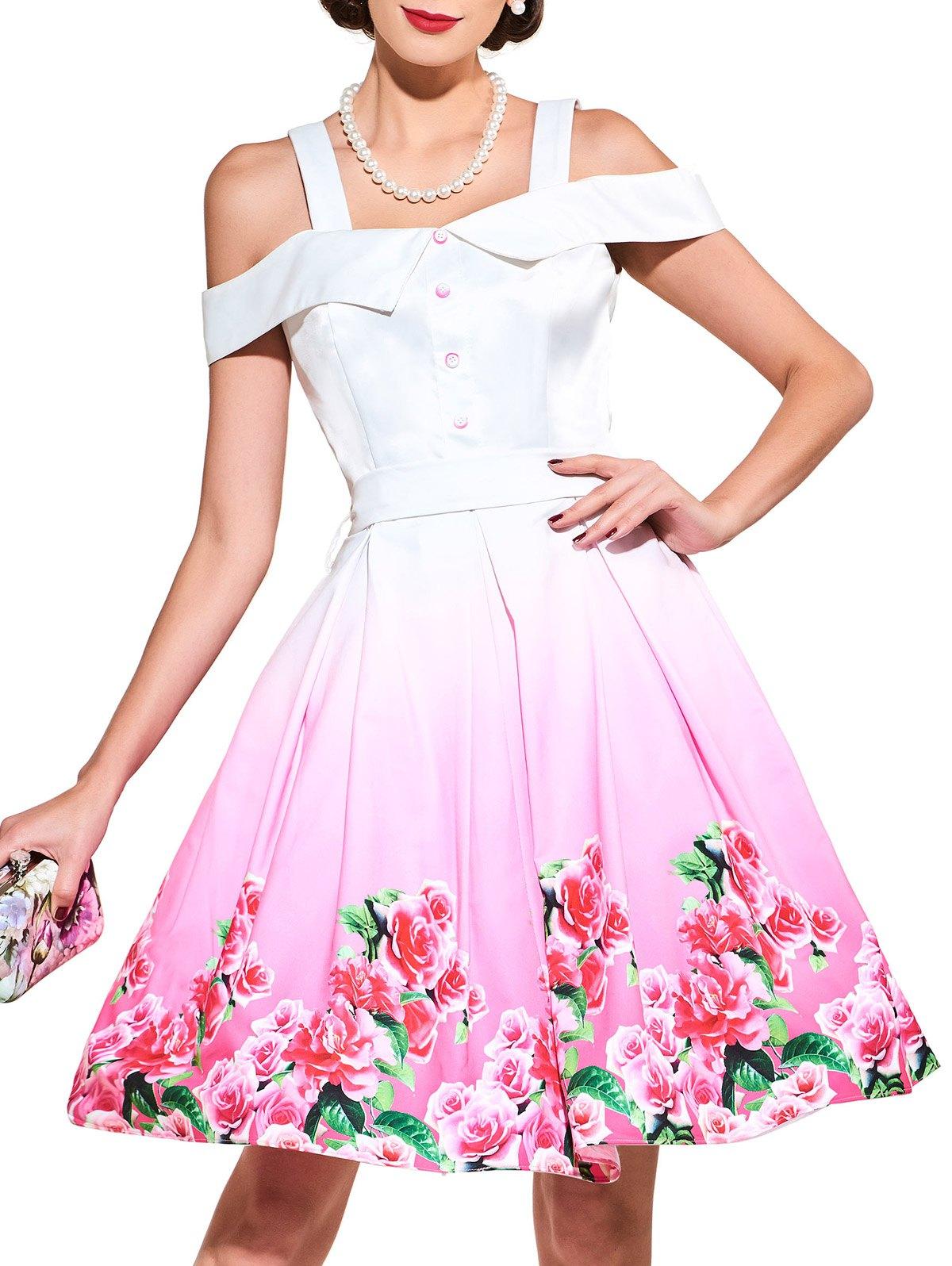 Cold Shoulder Floral Printed Belted Dress