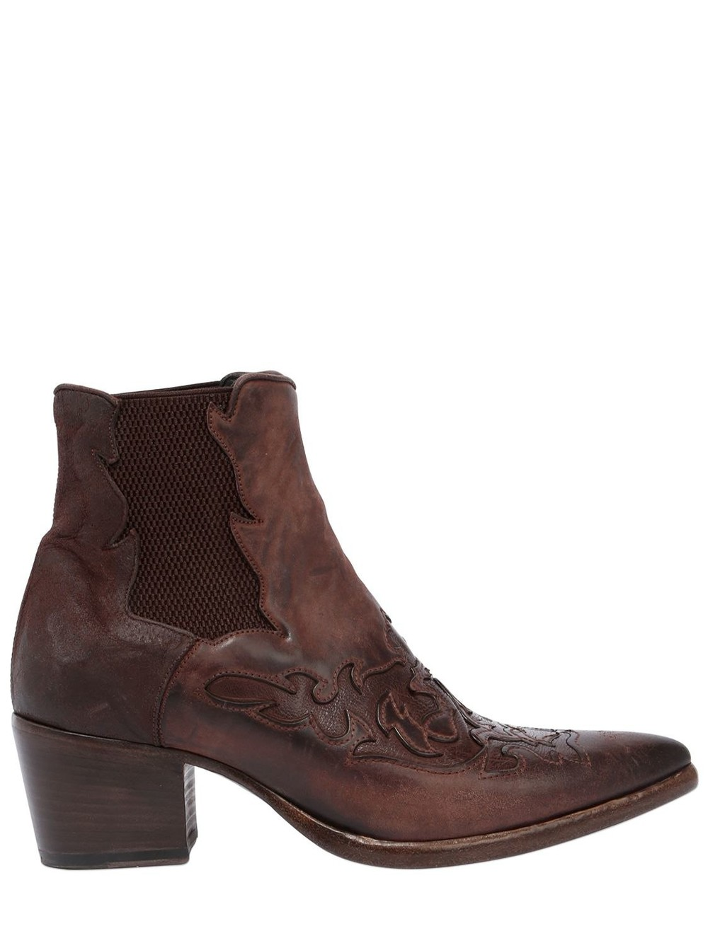 ALBERTO FASCIANI 40mm Leather Cowboy Ankle Boots in brown
