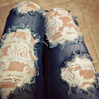 jeans clothes tumblr skinny jeans ripped jeans ripped/distressed/destroyed jean shorts lace ripped skinny lace back lace jeans blue denim lace denim jeans black grey white hipster dentelle pants