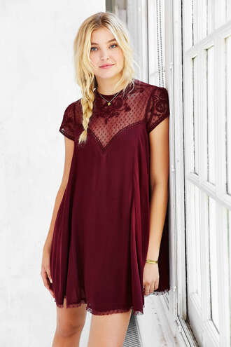 dress embellished embellished dress burgundy dress urban outfitters
