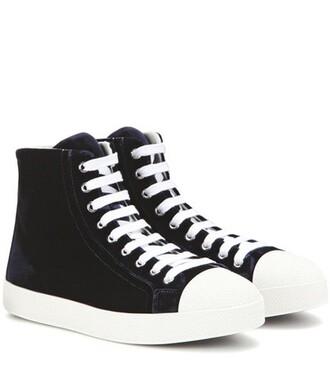high sneakers velvet blue shoes