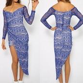 lace dress,long dress,irregular dress,long sleeve dress,strapless dress,hollow out dress,floral,blue dress,white dress,evening dress,party,party dress,sumeer dress
