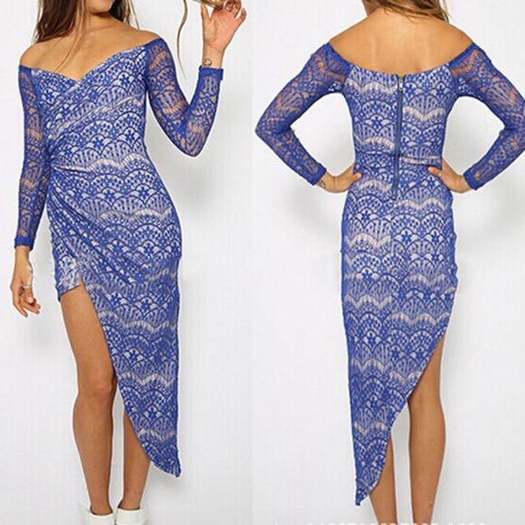 white dress party long sleeve dress party dress evening dress irregular dress hollow out dress strapless dresses blue dress long dresses lace dresses flower print sumeer dress