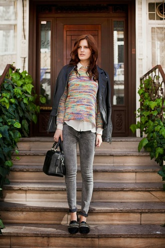 the bow-tie sweater jeans jacket shoes bag