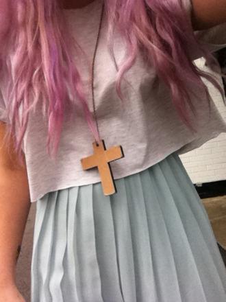 skirt grey top necklace blue skirt cross necklace