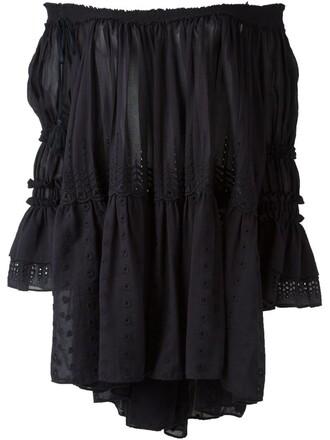 blouse off the shoulder blue top