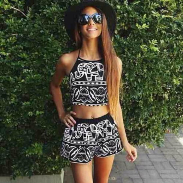 tank top top shorts matching set set black white summer spring teenagers sun tan cool cute tumblr elephant pattern detail floral hand indian boho bohemian hair accessory skirt black and white shorts