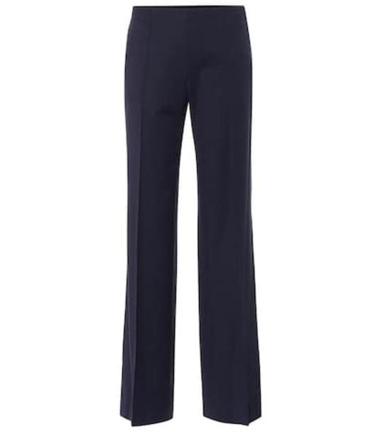 Chloé Mid-rise wide-leg wool-blend pants in blue