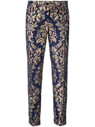 women blue pattern pants