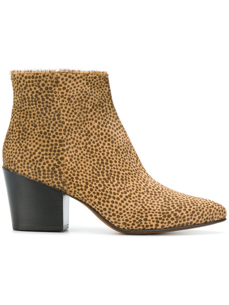Buttero hair fur women ankle boots leather brown shoes