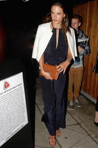 jumpsuit navy alessandra ambrosio sandals blazer shoes