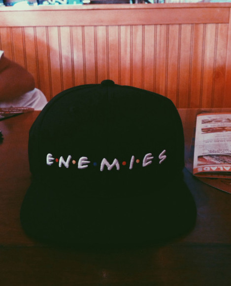 friends hat enemies snapback black red