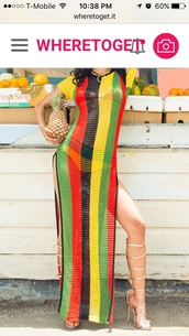 dress,striped dress,maxi dress,rasta,mesh dress,side split,cover up