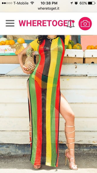 dress striped dress maxi dress rasta mesh dress side split cover up