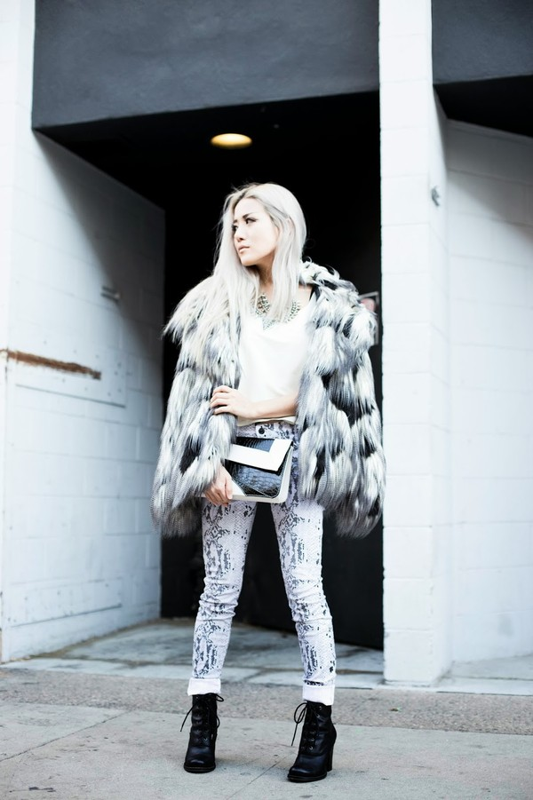 feral creature coat jewels t-shirt jeans shoes